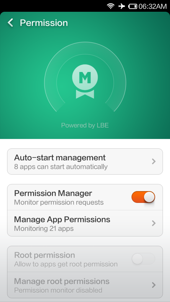 Redmi 1S Permissions Manager