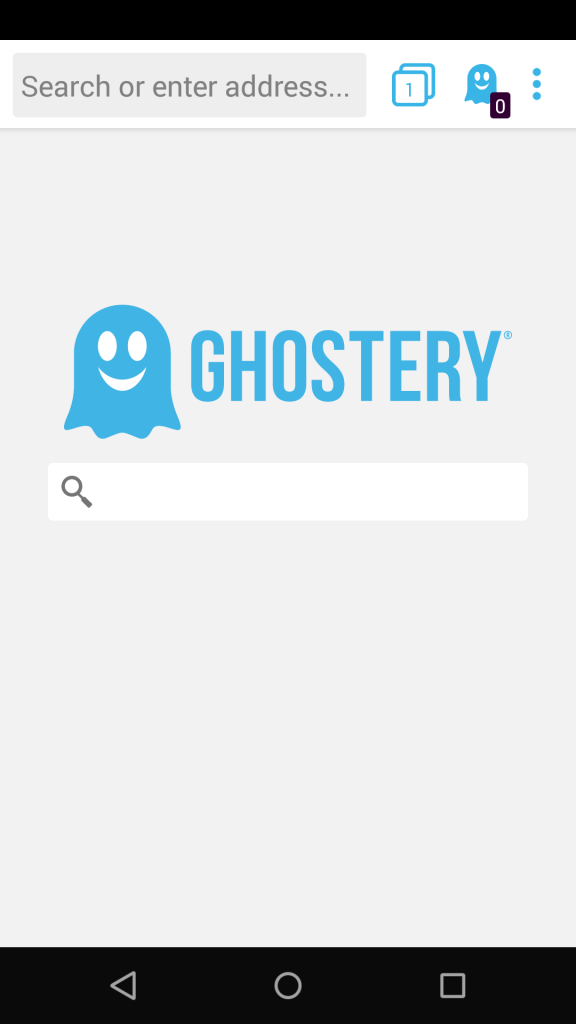 Ghostery Home Screen